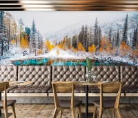 Winter Lake View with Pine Forest Wallpaper Mural