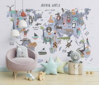 World Map with Cartoon Animals Wallpaper Mural