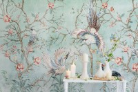 Chinoiserie Peony Blossom with Chinese Birds Wallpaper Mural