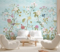 Colorful Chinoiserie Floral Wallpaper Mural