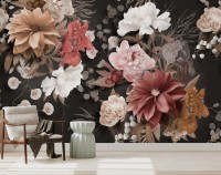 Realistic Dark Floral Wallpaper Mural