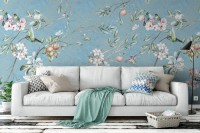 Vintage Blossoms With Birds Wallpaper Mural