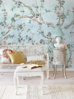 Watercolor Chinoiserie Floral Peony Blossom Wallpaper Mural