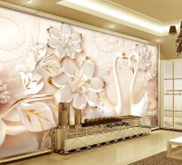 Gold Floral with Swan Wallpaper Mural