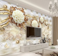 Gold Swan with Peony Floral Wallpaper Mural