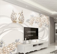 Pearl Floral with Swan Wallpaper Mural