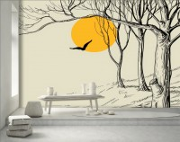 Charcoal Forest with Yellow Sun Wallpaper Mural