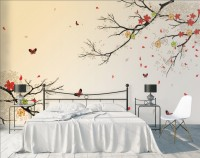 Colorful Little Floral Branch and Butterfly Wallpaper Mural