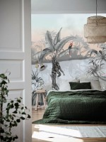Colorful Parrot and Cute Monkey with Soft Forest Wallpaper Mural