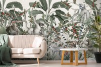 Forest with Monkey and Lemur Wallpaper Mural