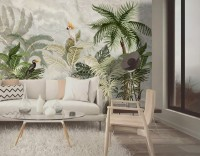 Green Tropical Forest with Parrot Wallpaper Mural