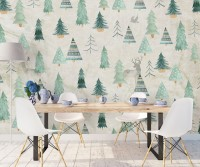 Nostalgic Tree Pattern Wallpaper Mural