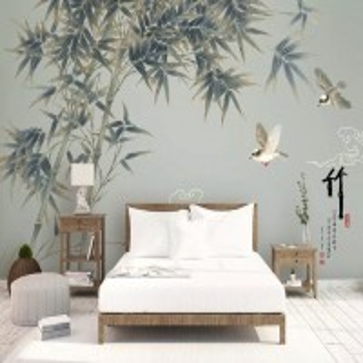 Retro Trees and Birds Wallpaper Mural