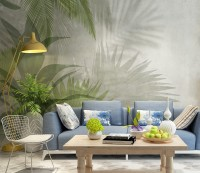 Tropical Green Palm Leaves Wallpaper Mural