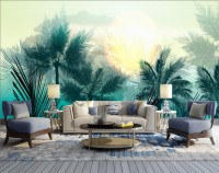 Tropical Palm Trees and Sunlight Wallpaper Mural