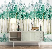 Watercolor Green Forest with Elk Wallpaper Mural