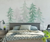 Watercolor Soft Palm Trees Wallpaper Mural