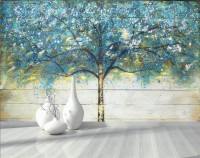 Watercolor Style Blue Tree Wallpaper Mural