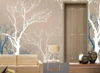 White Blue Tree Branches Wallpaper Mural