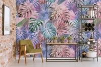 Colorful Tropical Leaf Wallpaper Mural