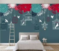 Cage Birds and Colorful Flowers Wallpaper Mural