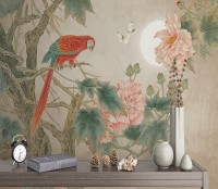 Nostalgic Peony Blossom and Parrot Wallpaper Mural