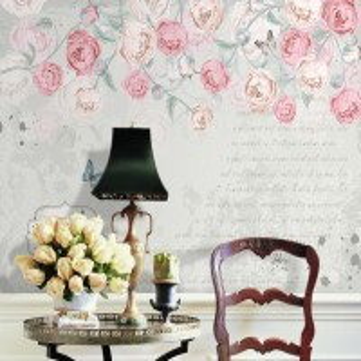Pink Victorian Vine Flower Wallpaper Mural