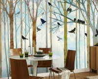 Vintage Abstract Forest and Black Bird Wallpaper Mural