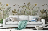 Vintage Green Plants and Daisy Wallpaper Mural