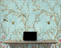 Vintage Little Floral and Birds Wallpaper Mural