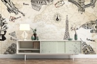 Vintage Map with Eiffel Tower Statue of Liberty Wallpaper Mural