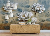 Vintage Oil Painting Peony Floral Wallpaper Mural