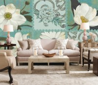 Vintage White Daisy Orchid Floral Wallpaper Mural