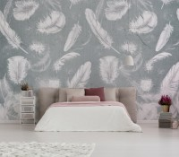 Vintage White Feather Pattern Wallpaper Mural