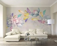 Colorful Magnolia Flowers and Birds Wallpaper Mural