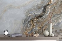 Dark Marble Waves Wallpaper Mural
