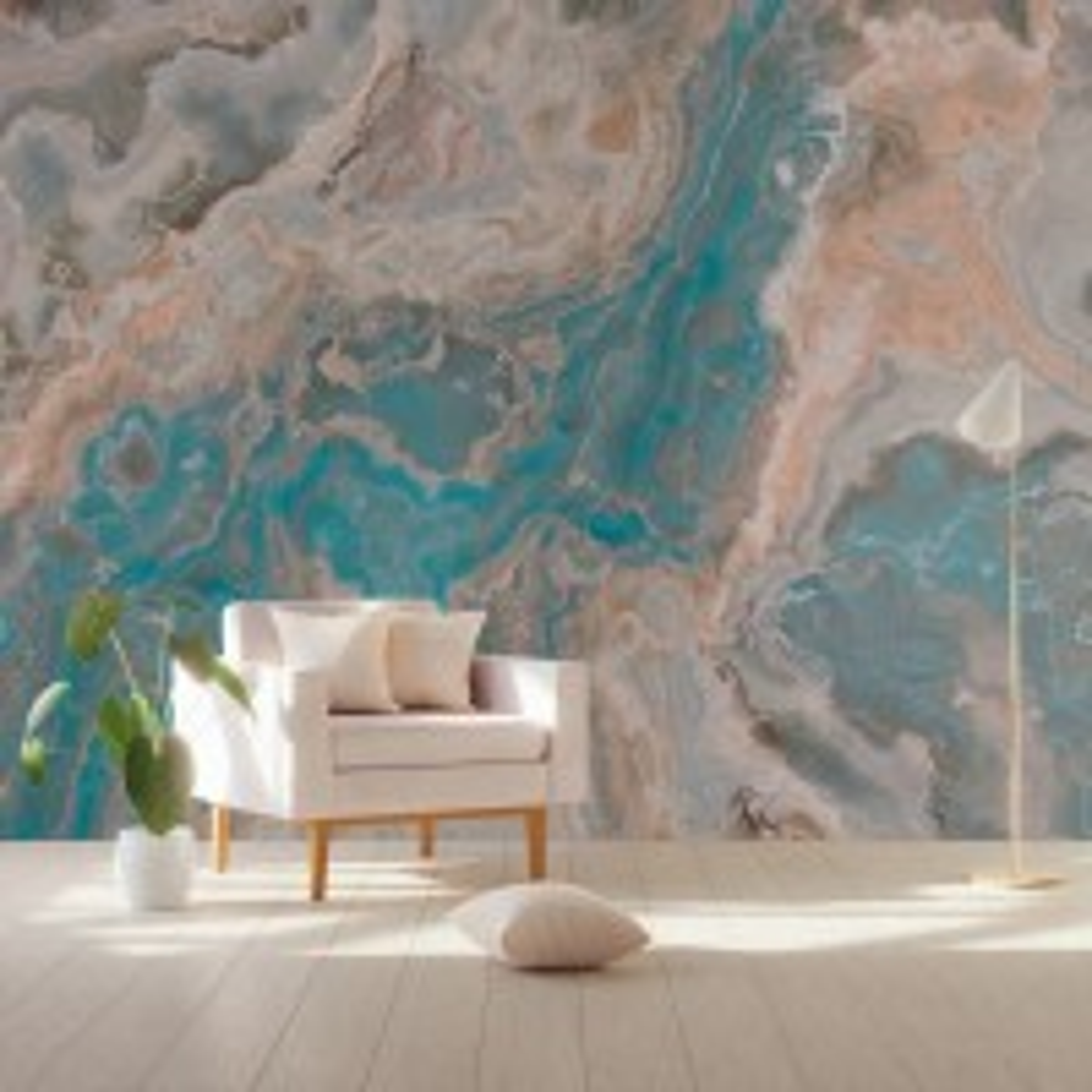 Turquoise Brown Wave Brush Wallpaper Mural