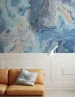 Turquoise Wave Pattern Wallpaper Mural