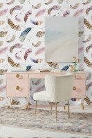 Watercolor Feather Pattern Wallpaper Mural