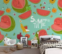 Watercolor Watermelon and Summer Fruits Wallpaper Mural