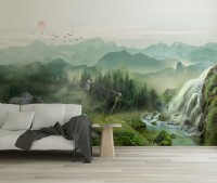 Waterfall with Misty Green Forest Landscape Wallpaper Mural