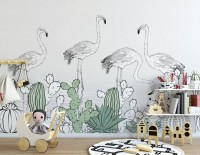 White Flamingos with Cactuses Drawing Art Wallpaper Mural