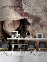 Artistic Woman with Letter Pattern Wallpaper Mural