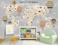 Kids World Map with Vintage Hot Air Balloon Wallpaper Mural