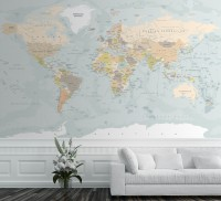 Dark Political World Map Wallpaper Mural