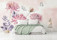 Retro Watercolor Pink Dandelion Flower Art Wallpaper Mural