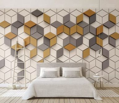 Leaf Wallpaper Abstract Line Wall Mural Geometric Wall Art Minimalist Home Decor Cafe Design Living Room Bedroom