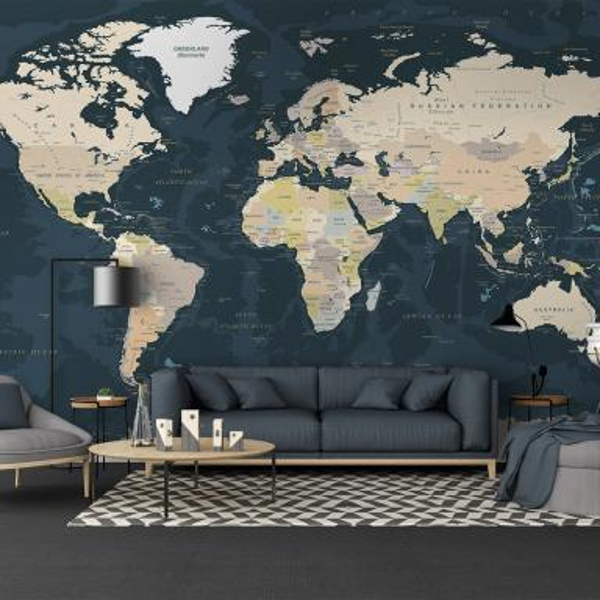 Photo Wallpaper Mural Non-woven 0098803D13 World Map on Brick Wall