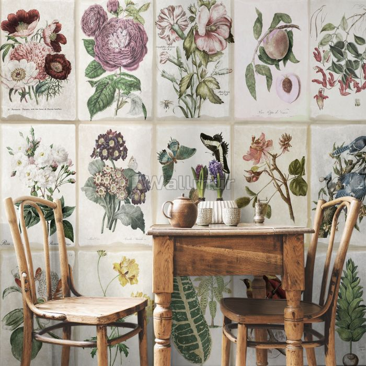 Vintage Floral Ceramic Art Wallpaper Mural