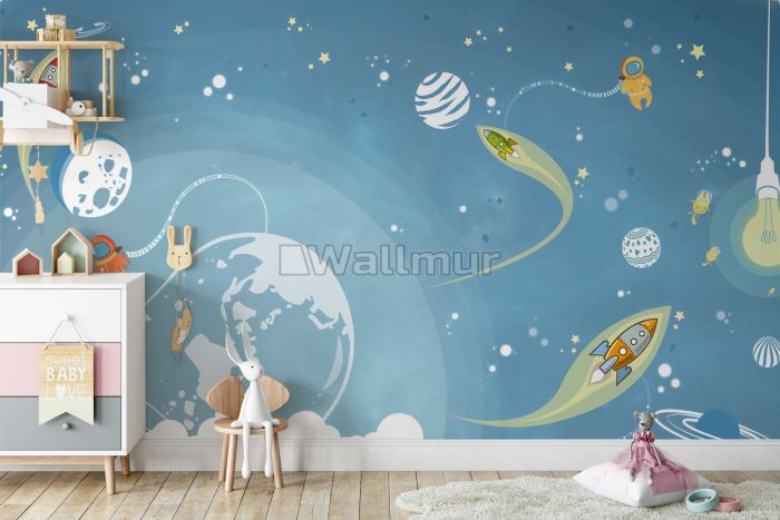 Cartoon Space and Little Bunny Wallpaper Mural